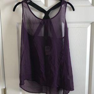 NWT Purple Zippier back top